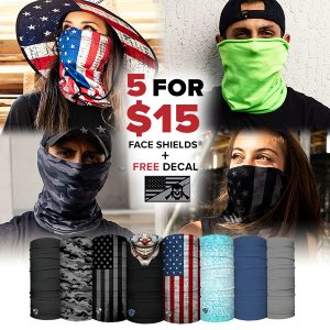 Alpha Defense Gear 5 for $15 Face Shields® Pack / Multi-Use Tubular Bandana - DA-5PACK-FB-73