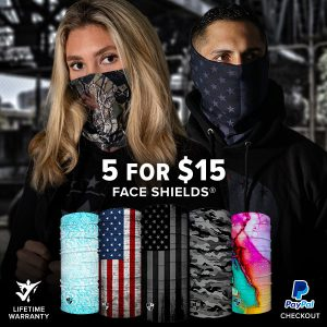 Alpha Defense Gear 5 for $15 Face Shields® Pack / Multi-Use Tubular Bandana - DA-5PACK-SC-DOM265
