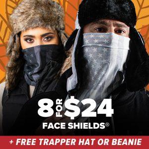Alpha Defense Gear 8 for $24 Face Shields® + BONUS Beanie Or Trapper Hat! / Multi-Use Tubular Bandana - DA-P88031-EM110