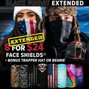 Alpha Defense Gear 8 for $24 Face Shields® Plus BONUS Beanie OR Trapper Hat! / Multi-Use Tubular Bandana - DA-P88031-EM100