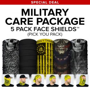 Alpha Defense Gear 8 for 24 Microfiber Cloth Face Shield® Pack / Multi-Use Tubular Bandana / Alpha Defense Gear Military Care Package - DA-5PACK-FB-DOM5