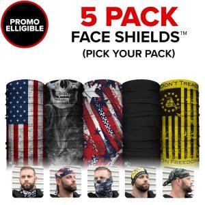 Alpha Defense Gear 80% Off Face Shields™ / Promo Eligible / Multi-Use Tubular Bandana - DA-5PACK-FB-DOM175