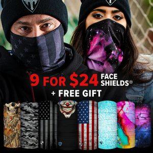 Alpha Defense Gear 9 for $24 Face Shields® Pack / Black Friday Loadout / Multi-Use Tubular Bandana - DA-P88031-EM90