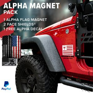 Alpha Defense Gear Alpha Flag Magnet Pack + 2 Alpha Face Shields® / Multi-Use Tubular Bandana - DA-P88207