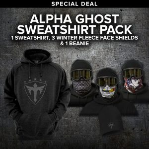 Alpha Defense Gear Alpha Ghost Sweatshirt Pick Your Pack / Includes: Face Shield™, Beanie Hat, Sweatshirt - DA-P88006-2