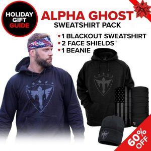 Alpha Defense Gear Alpha Ghost Sweatshirt Pick Your Pack / Includes: Face Shield™, Decal Sticker, Beanie Hat, Sweatshirt - DA-P88006-GG