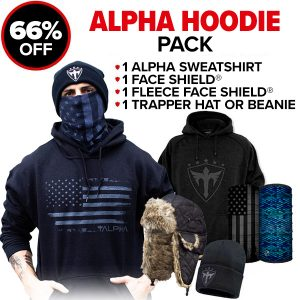 Alpha Defense Gear Alpha Hoodie Pick Your Pack / Includes: Face Shield™, Decal Sticker, Beanie Hat, Sweatshirt - DA-P88439