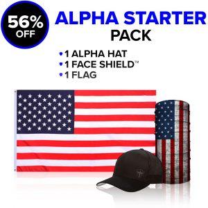 Alpha Defense Gear Alpha Starter Pick Your Pack / Includes: Microfiber Cloth Face Shield™, Flag, Hat - DA-P88127-EM5