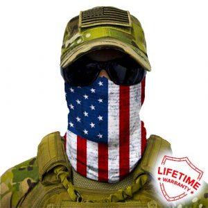 Alpha Defense Gear American Flag Face Shield™ / Multi-Use Tubular Bandana / Polyester / Red/White/Blue