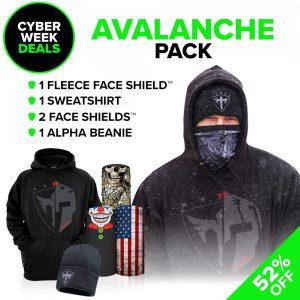 Alpha Defense Gear Avalanche Pick Your Pack / Includes: Microfiber Cloth Face Shield™, Decal Sticker, Beanie Hat, Sweatshirt - DA-P89016-CM