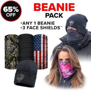 Alpha Defense Gear Beanie Pack / Any 1 Beanie & 3 Microfiber Cloth Face Shields® / Multi-Use Tubular Bandana