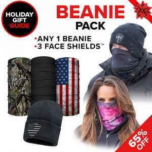 Alpha Defense Gear Beanie Pack / Any 1 Beanie & 3 Microfiber Cloth Face Shields / Multi-Use Tubular Bandana