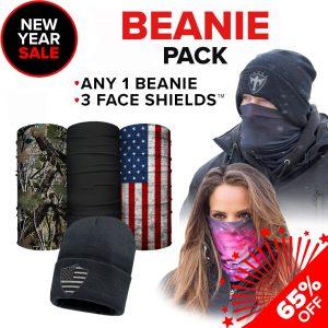 Alpha Defense Gear Beanie Pack / Any 1 Beanie & 3 Microfiber Cloth Face Shields / Multi-Use Tubular Bandana