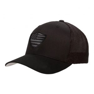 Alpha Defense Gear Black Snap Back Hat / Blackout American Flag Shield
