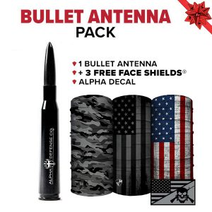 Alpha Defense Gear Bullet Antenna Pick Your Pack / Includes: Face Shield™, Decal Sticker, Hat - DA-P88192-SS5
