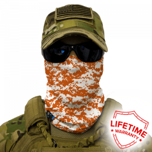 Alpha Defense Gear Burnt Orange & White Digi Face Shield / Multi-Use Tubular Bandana / Polyester