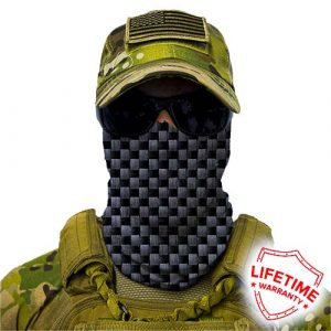 Alpha Defense Gear Carbon Fiber Face Shield™ / Multi-Use Tubular Bandana / Polyester / Grey