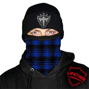 Alpha Defense Gear FROST TECH™ / BLUE PLAID FLEECE LINED FACE SHIELD® / Multi-Use Tubular Bandana
