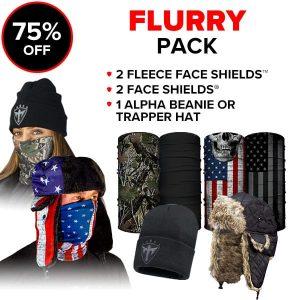 Alpha Defense Gear Flurry Pick Your Pack / Includes: Face Shield™, Decal Sticker, Beanie Hat - DA-P88014-FB5
