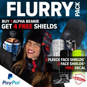 Alpha Defense Gear Flurry Pick Your Pack / Includes: Microfiber Cloth Face Shield™, Decal Sticker, Beanie Hat - DA-P88014-PD5