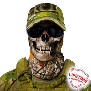 Alpha Defense Gear Forest Camo Skull Face Shield™ / Multi-Use Tubular Bandana / Polyester