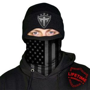Alpha Defense Gear Frost Tech™ / Blackout American Flag Fleece Face Shield / Multi-Use Tubular Bandana