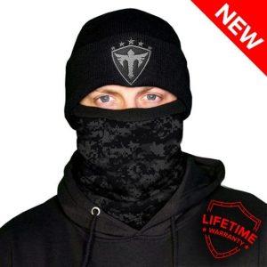 Alpha Defense Gear Frost Tech™ / Blackout Digi Fleece Face Shield / Multi-Use Tubular Bandana
