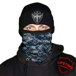 Alpha Defense Gear Frost Tech™ / Blue Digi Fleece Face Shield / Multi-Use Tubular Bandana