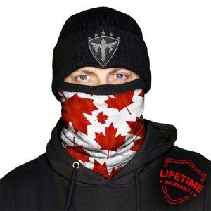 Alpha Defense Gear Frost Tech™ / Canada Fleece Face Shield® / Multi-Use Tubular Bandana / Red/White