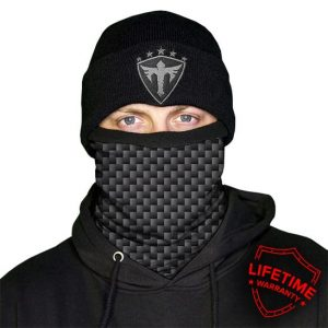 Alpha Defense Gear Frost Tech™ / Carbon Fiber Fleece Face Shield / Multi-Use Tubular Bandana / Grey