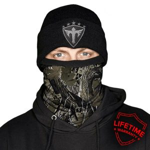 Alpha Defense Gear Frost Tech™ / Dregs Forest Camo Fleece Face Shield / Multi-Use Tubular Bandana