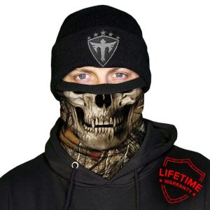 Alpha Defense Gear Frost Tech™ / Forest Camo Skull Fleece Face Shield® / Multi-Use Tubular Bandana