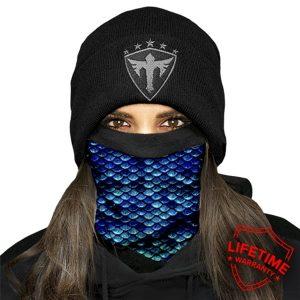 Alpha Defense Gear Frost Tech™ / Mermaid Scales Fleece Face Shield® / Multi-Use Tubular Bandana / Blue