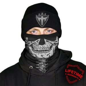 Alpha Defense Gear Frost Tech™ / Skeleton Fleece Face Shield® / Multi-Use Tubular Bandana / Black/White