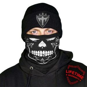 Alpha Defense Gear Frost Tech™ / Spade Fleece Face Shield® / Multi-Use Tubular Bandana / Black/White