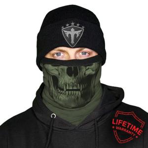 Alpha Defense Gear Frost Tech™ / Tactical / OD Green Skull Fleece Face Shield® / Multi-Use Tubular Bandana