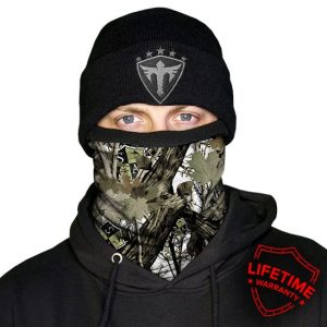 Alpha Defense Gear Frost Tech™ / White Forest Camo Fleece Face Shield™outl / Multi-Use Tubular Bandana