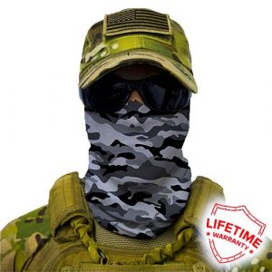 Alpha Defense Gear Grey Military Camo Face Shield™ / Multi-Use Tubular Bandana / Polyester