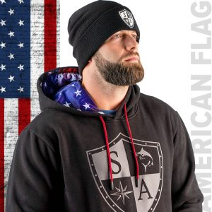 Alpha Defense Gear Inner Lined Hoodie / American Flag / Size L / Red/White/Blue