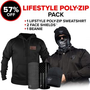 Alpha Defense Gear Lifestyle Poly-Zip Pick Your Pack / Includes: Face Shield™, Decal Sticker, Beanie Hat, Hooded Sweatshirt - DA-P89061-FALL