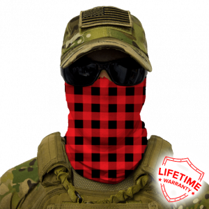 Alpha Defense Gear Lumberjack Face Shield™ / Red Plaid / Multi-Use Tubular Bandana / Polyester