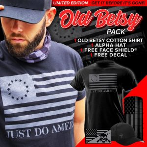 Alpha Defense Gear Old Betsy Pick Your Pack / Includes: Face Shield™, Decal Sticker, Cotton Shirt, Alpha Hat - DA-P88179-RT