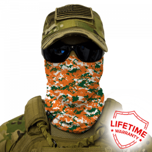 Alpha Defense Gear Orange & Green Digi Face Shield / Multi-Use Tubular Bandana / Polyester