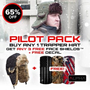 Alpha Defense Gear Pilot Pack / Buy 1 Trapper Hat, Get 3 FREE Face Shields and Decal Sticker / Multi-Use Tubular Bandana - DA-P99131-PD-GO