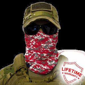 Alpha Defense Gear Red, Grey & White Digi Face Shield / Multi-Use Tubular Bandana / Polyester