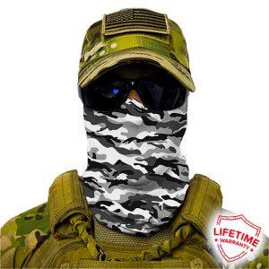 Alpha Defense Gear Snow Military Camo Face Shield™ / Multi-Use Tubular Bandana / Polyester