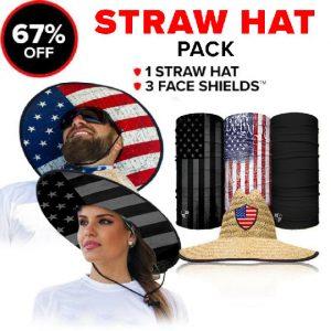 Alpha Defense Gear Straw Hat Pick Your Pack / Includes: Microfiber Cloth Face Shield™, - DA-P88188-LD5