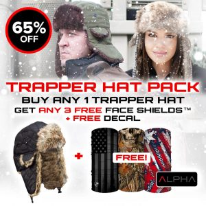 Alpha Defense Gear Trapper Hat Pack / Buy 1 Trapper Hat, Get 3 FREE Microfiber Cloth Face Shields and Decal Sticker / Multi-Use Tubular Bandana