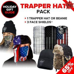Alpha Defense Gear Trapper Hat Pick Your Pack / Includes: Face Shield™, Beanie Hat - DA-P98131-GG