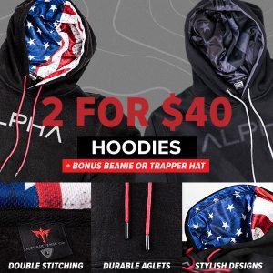 Alpha Defense Gear 2 For $40 Alpha Hoodie + Bonus Beanie Or Trapper Hat!